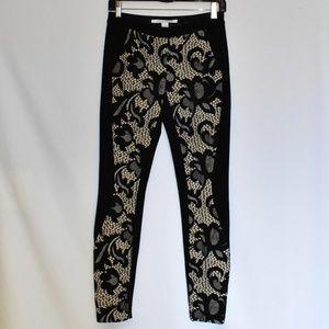 Diane Von Furstenberg Black Lace Overlay Pants 0